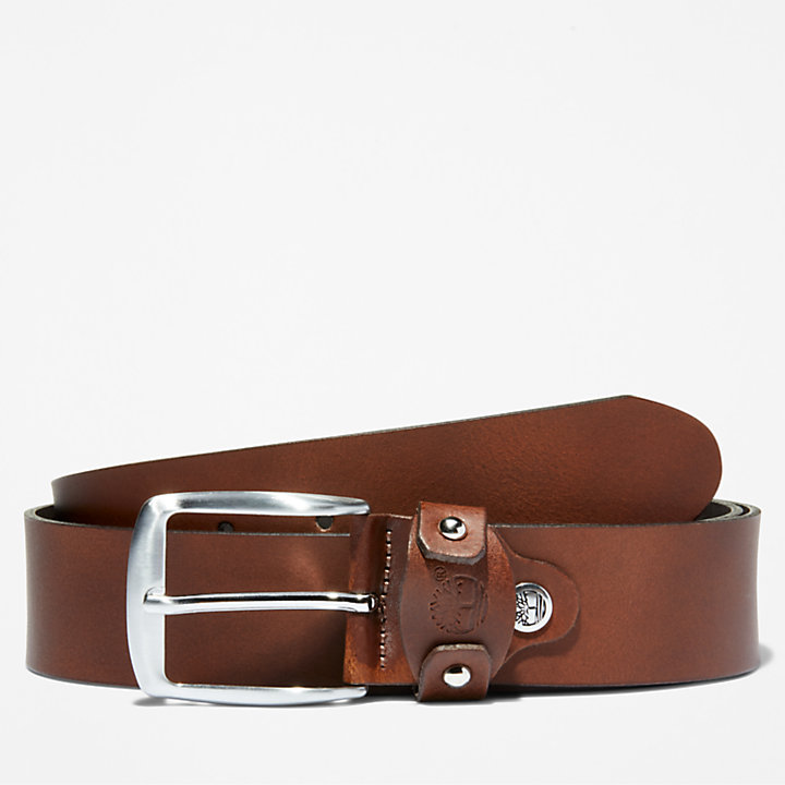 Squared Buckle Belt for Men in Brown-