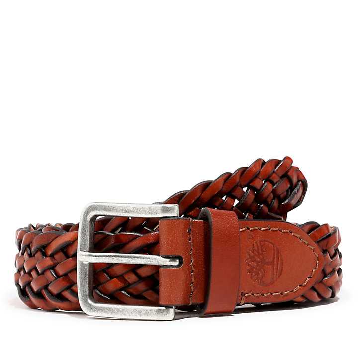 Plaited Belt for Men in Brown-