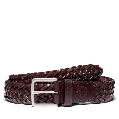 Plaited+Belt+for+Men+in+Dark+Brown