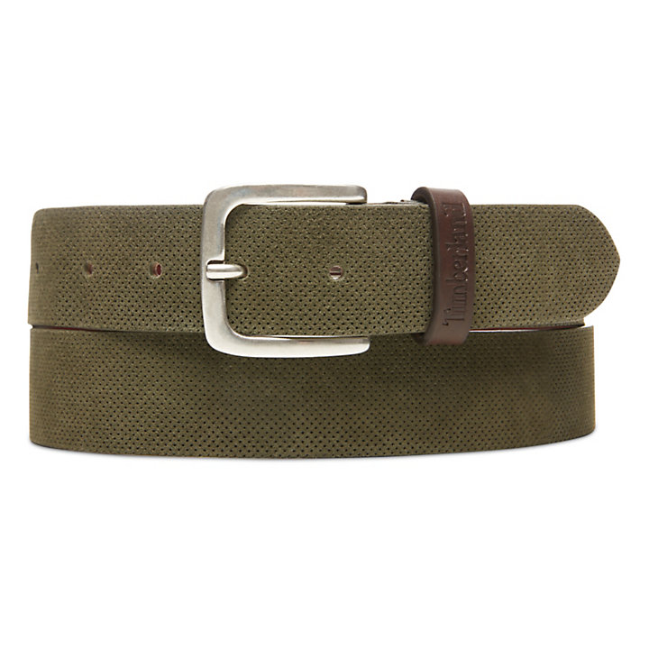 Suede Leather Belt for Men in Green-