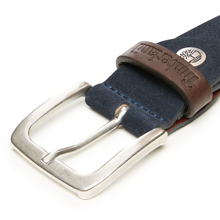 Cinturón de Ante para Hombre en azul marino-