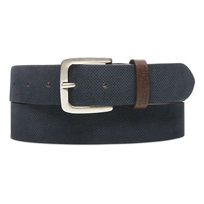 Suede+Leather+Belt+for+Men+in+Navy