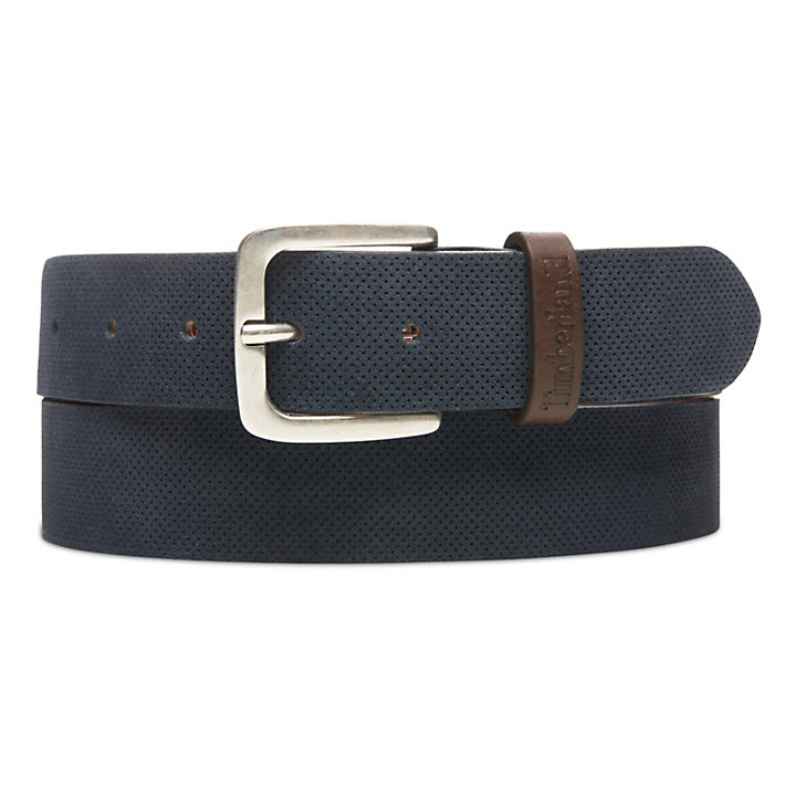 Suede Leather Belt for Men in Navy-