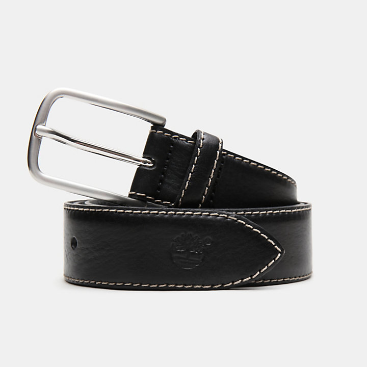 Narrow Leather Belt for Men in Black-