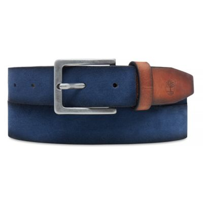 Washed+Suede+Riem+voor+Heren+in+Marineblauw