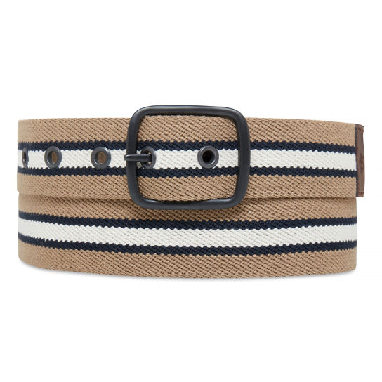 Striped Canvas Belt Heren Kaki | Timberland