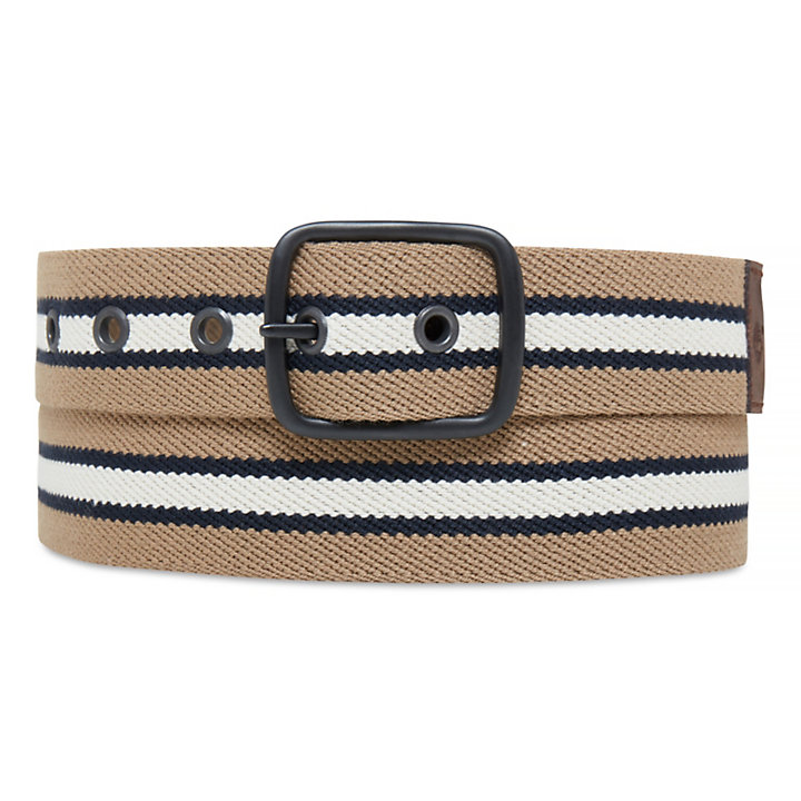 Men's Striped Canvas Belt British Khaki-