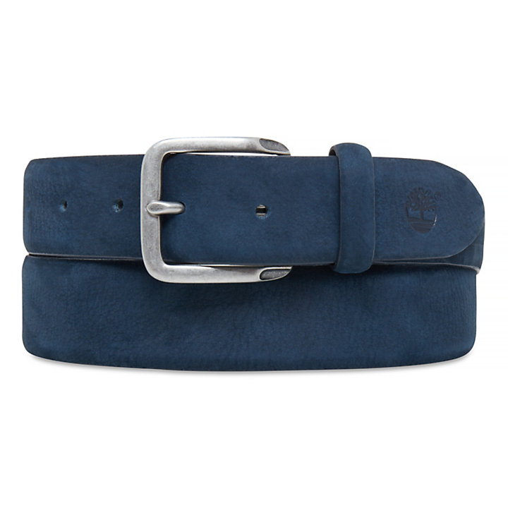 Men's Casual Line Textured Leather Belt Blue-
