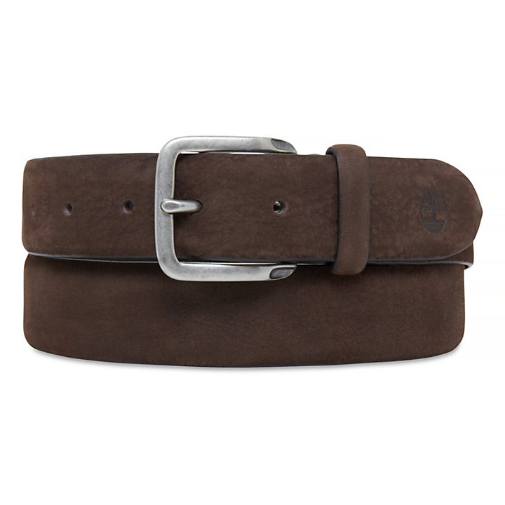 Men's Casual Line Textured Leather Belt Cocoa-