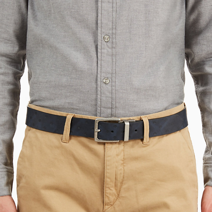 Textured Leather Belt for Men in Grey-