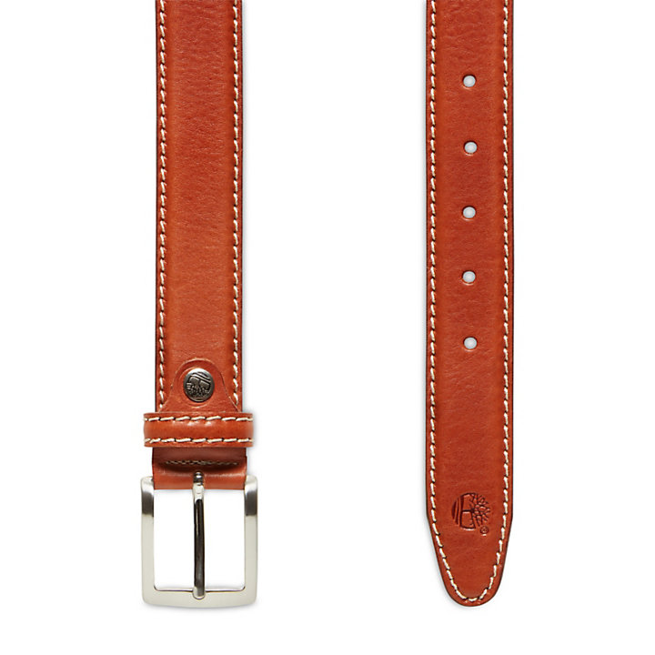 Belt with Contrast Stitching for Men in Brown-