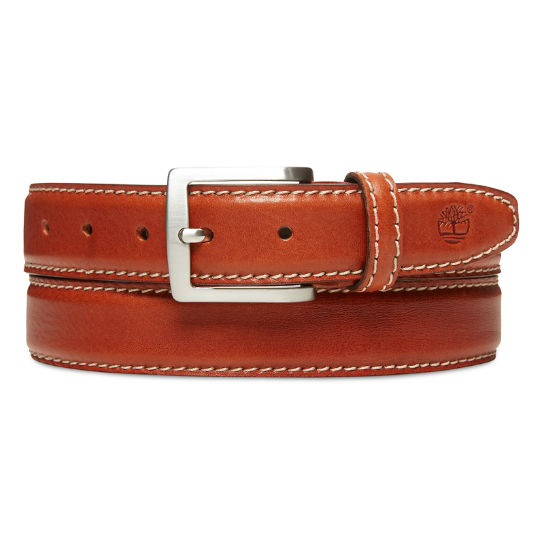 Belt with Contrast Stitching for Men in Brown | Timberland
