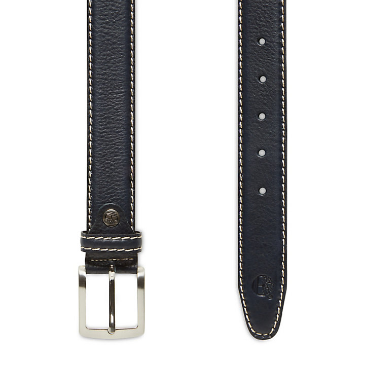Belt with Contrast Stitching for Men in Navy-