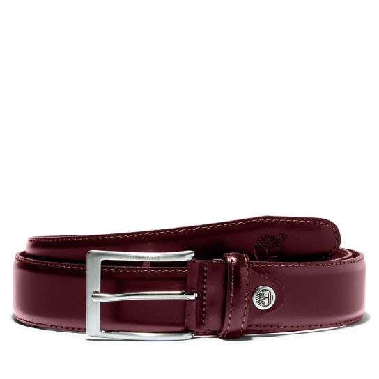 Classic Squared Buckle Belt  for Men in Burgundy | Timberland