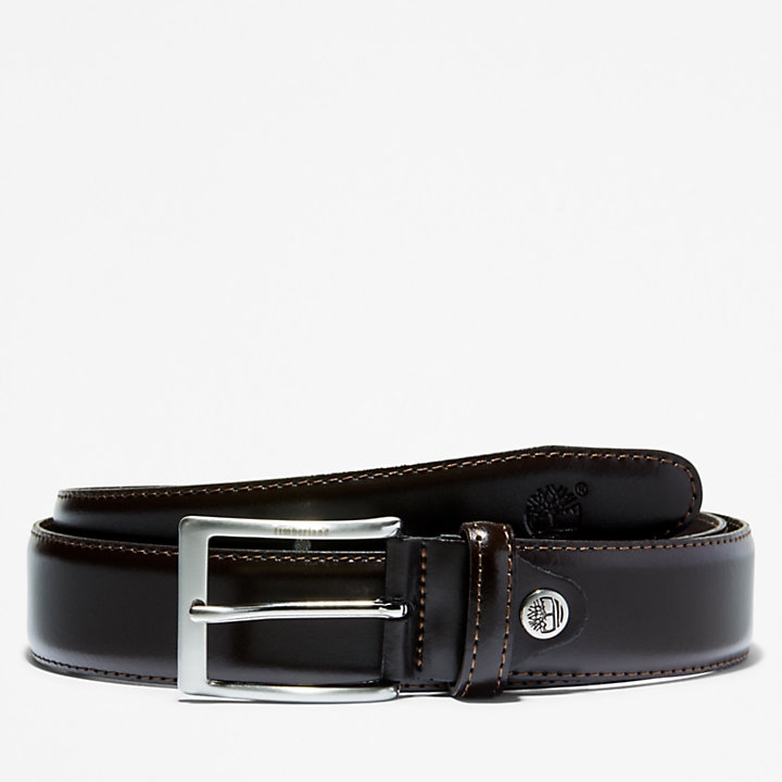 Classic Squared Buckle Belt  for Men in Dark Brown-