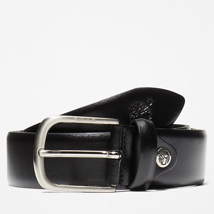 Antiqued Silver Leather Belt for Men in Black-