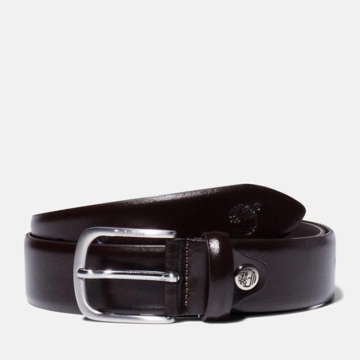 Antiqued Silver Leather Belt for Men in Brown-