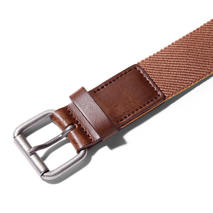 Canvas Stretch Belt for Men in Brown-
