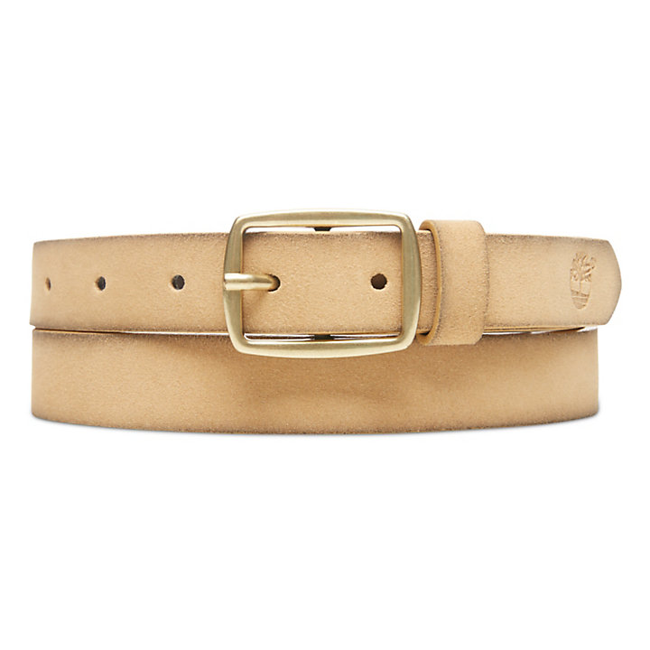 Suede Leather Belt for Women in Cream-