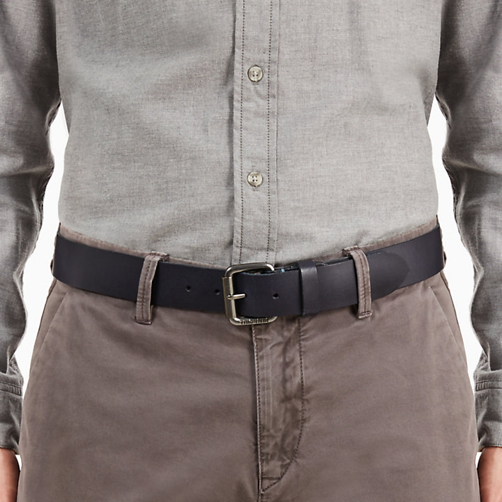 Cinturón con Hebilla de Rodillo para Hombre en Azul Marino-