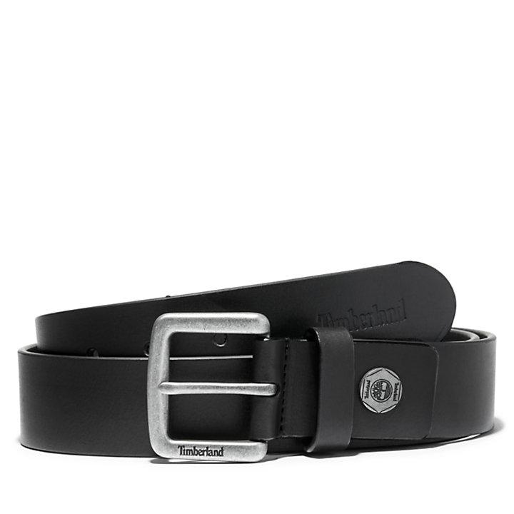 Cinturón de cuero pintado para hombre en color negro-