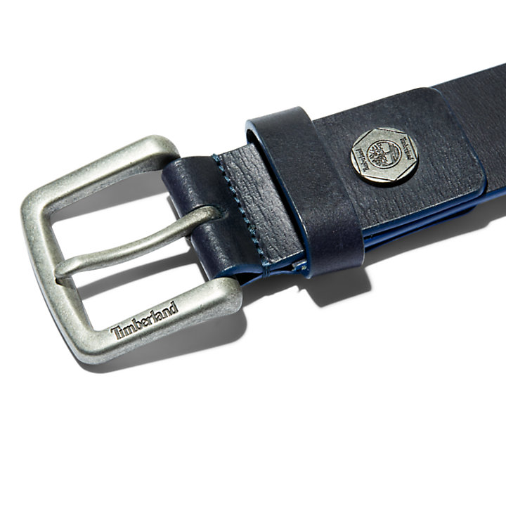 Paint-tip Leather Belt for Men in Blue-