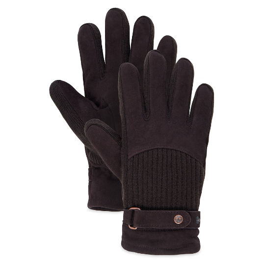 Men's Suede/Ribbed Knit Gloves Cocoa | Timberland