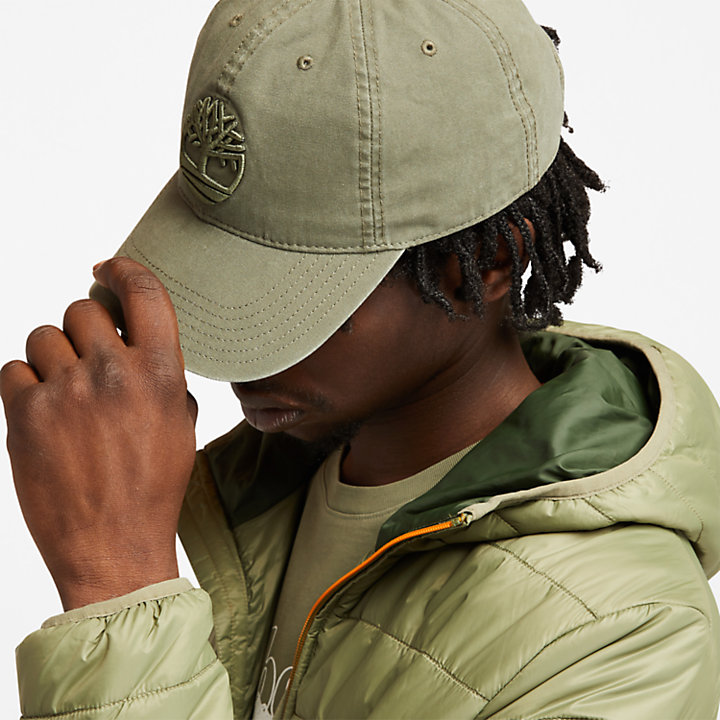 Cotton Canvas Baseball Cap for Men in Dark Green-