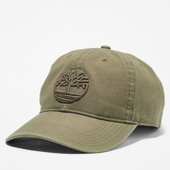 Cotton Canvas Baseball Cap for Men in Dark Green | Timberland