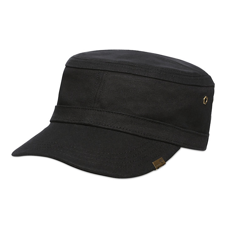 Waxed Canvas Field Cap for Men in Black-