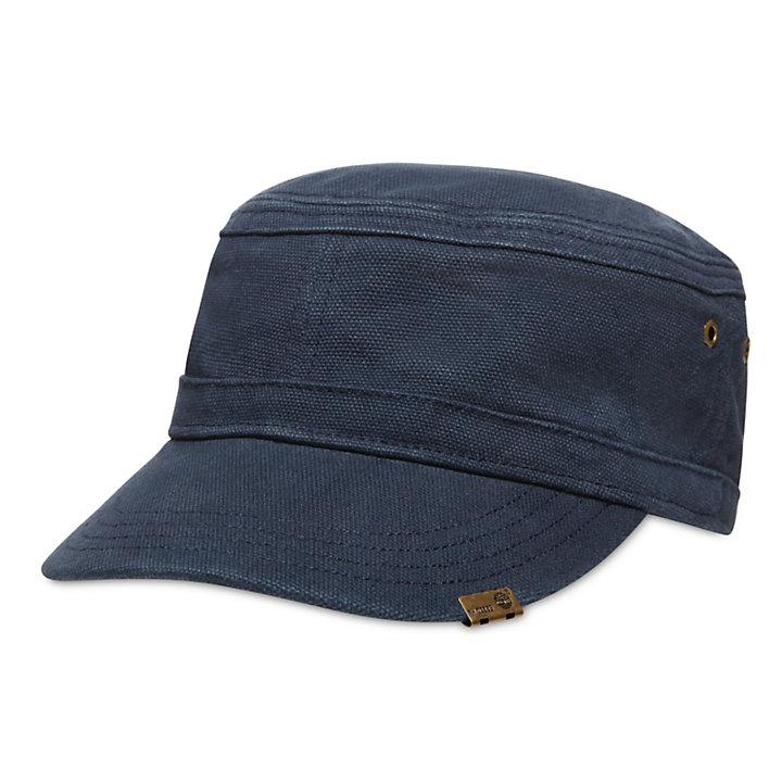 39323c8c80aa7 Casquette plate en toile de coton cirée pour homme en bleu marine ...