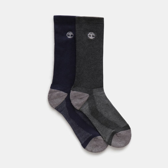Two Pair Pack of Crew Socks for Men in Navy | Timberland