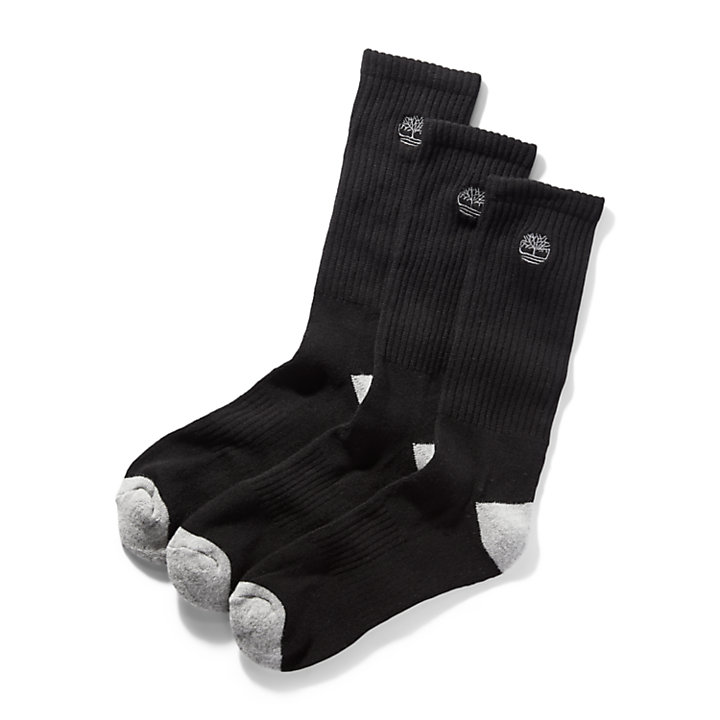 Three Pair Sagamore Beach Socks for Men in Black-