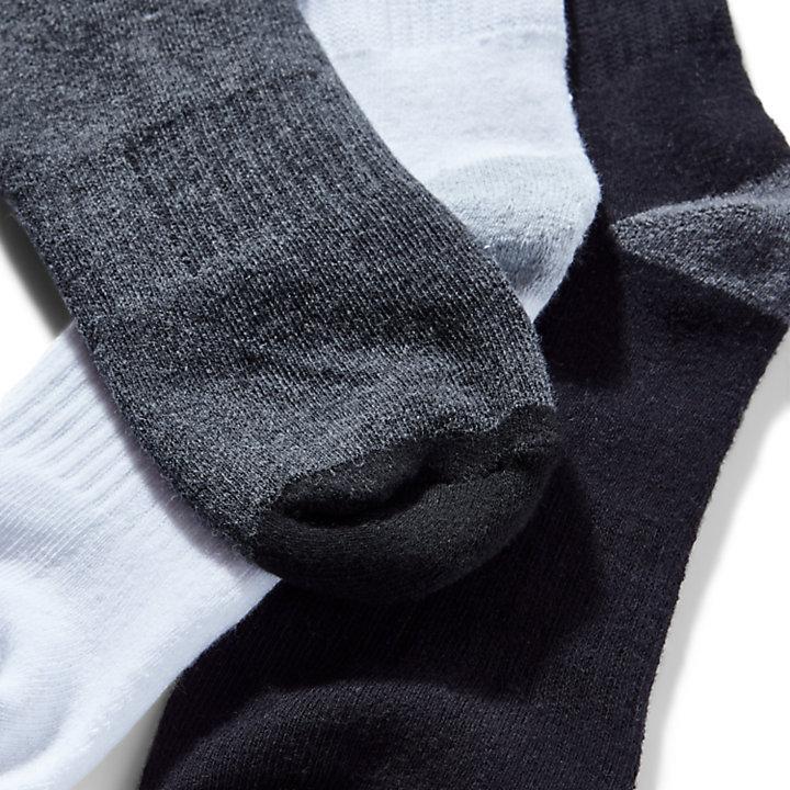 Three Pair Sagamore Beach Socks for Men in Grey-