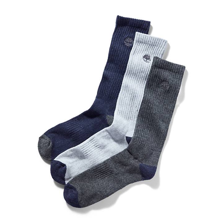 Three Pair Sagamore Beach Socks for Men in Navy-