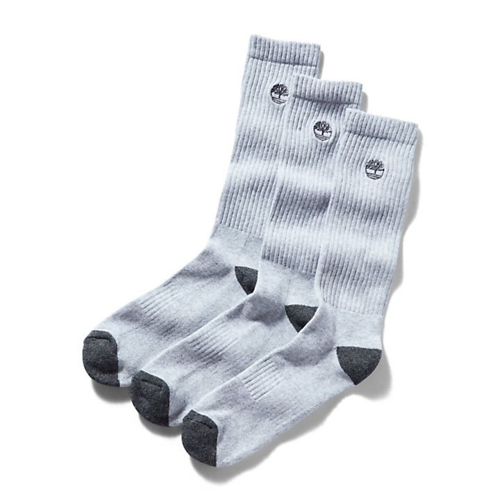 Three Pair Sagamore Beach Socks for Men in Grey-