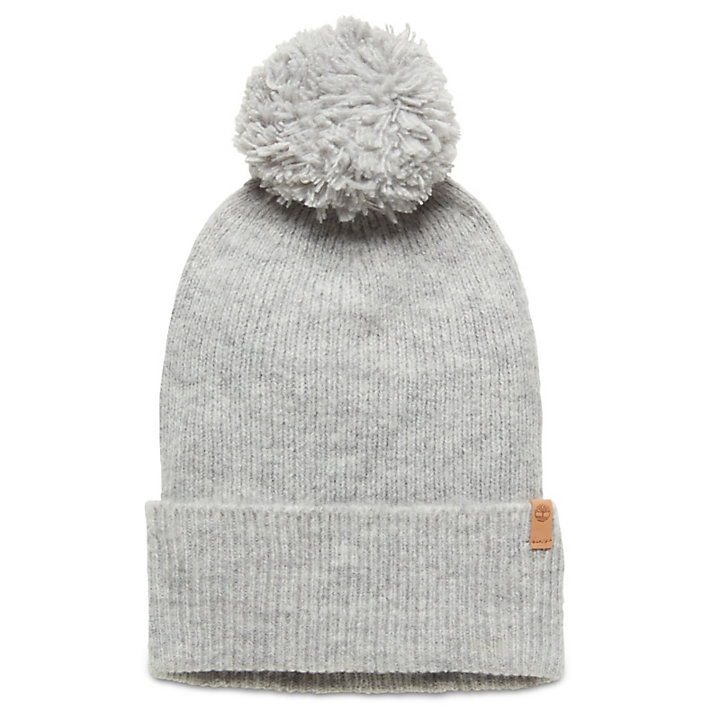 Brushed Pom-Pom Beanie for Women in Grey-