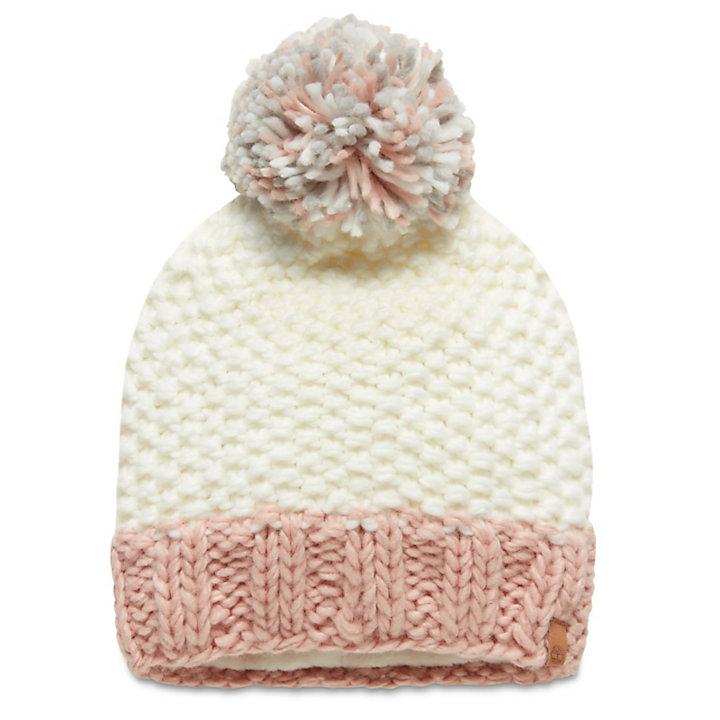 Pompon Beanie voor Dames in Wit-