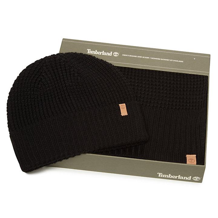 Mütze und Schal Geschenkset für Damen in Schwarz-