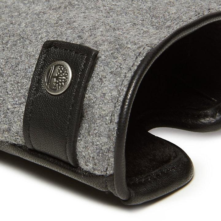 Damenhandschuhe aus Leder und Wolle in Grau-