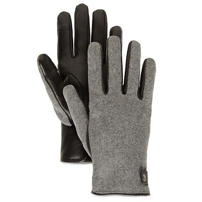 Leather+and+Wool+Gloves+for+Women+in+Grey