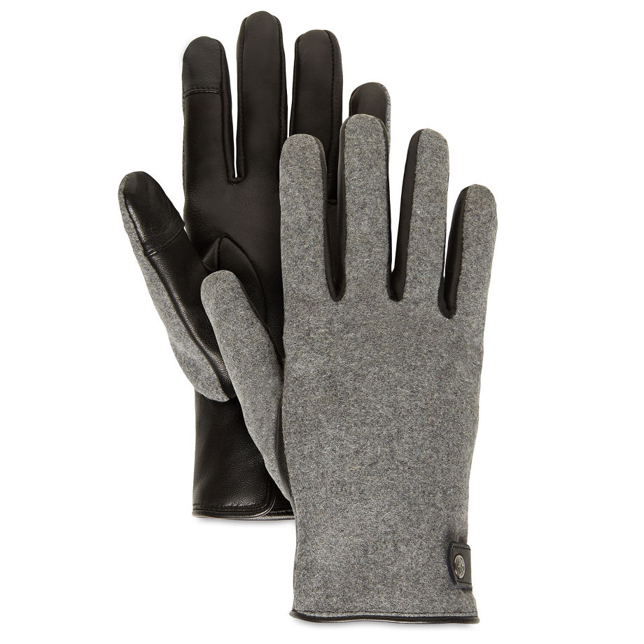 Gants Tactiles En Cuir En Noir Noir, Taille L - Timberland - Modalova