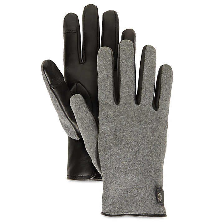 Leather and Wool Gloves for Women in Grey-