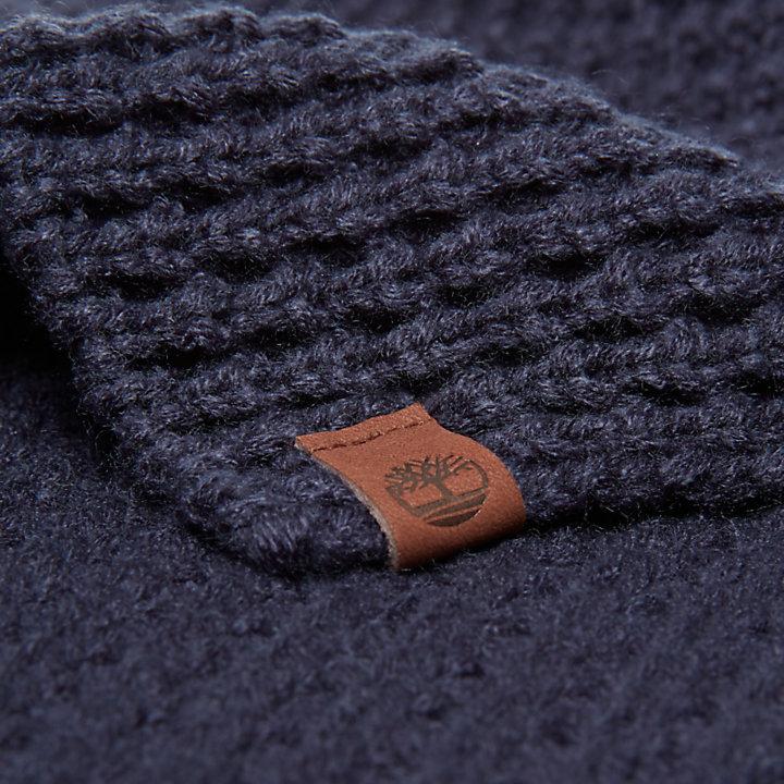 Écharpe point gaufré pour homme en bleu marine-