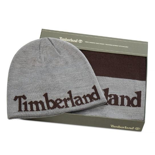Coffret cadeau écharpe et bonnet pour homme en marron   Timberland 2f1eb1cfc15