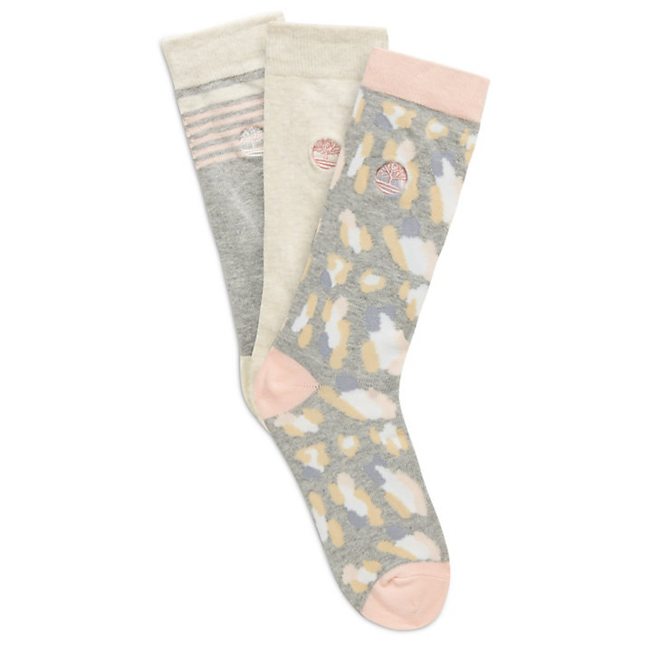 Three-Pair Socks for Women in Pink/Grey-
