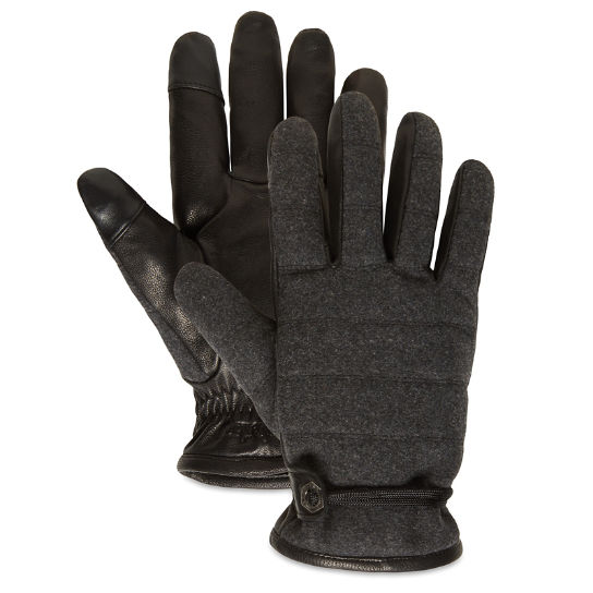 Leather and Wool Gloves for Men in Dark Grey | Timberland