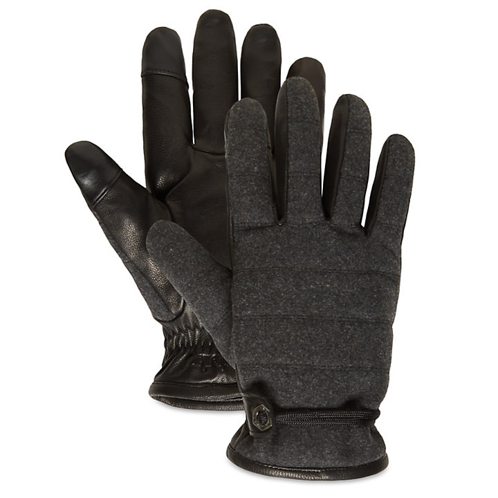 Leather and Wool Gloves for Men in Dark Grey-