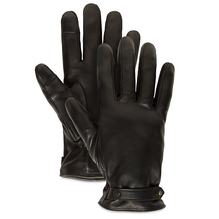 Leather Touchscreen Gloves for Women in Black-