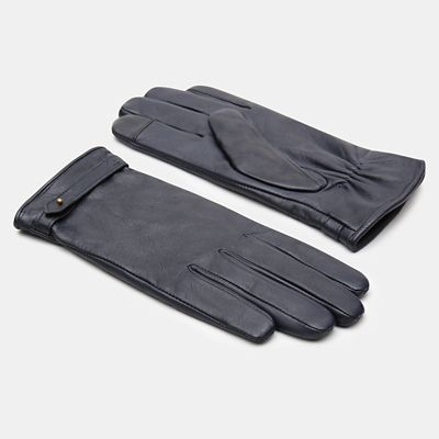 Leather+Touchscreen+Gloves+for+Women+in+Navy